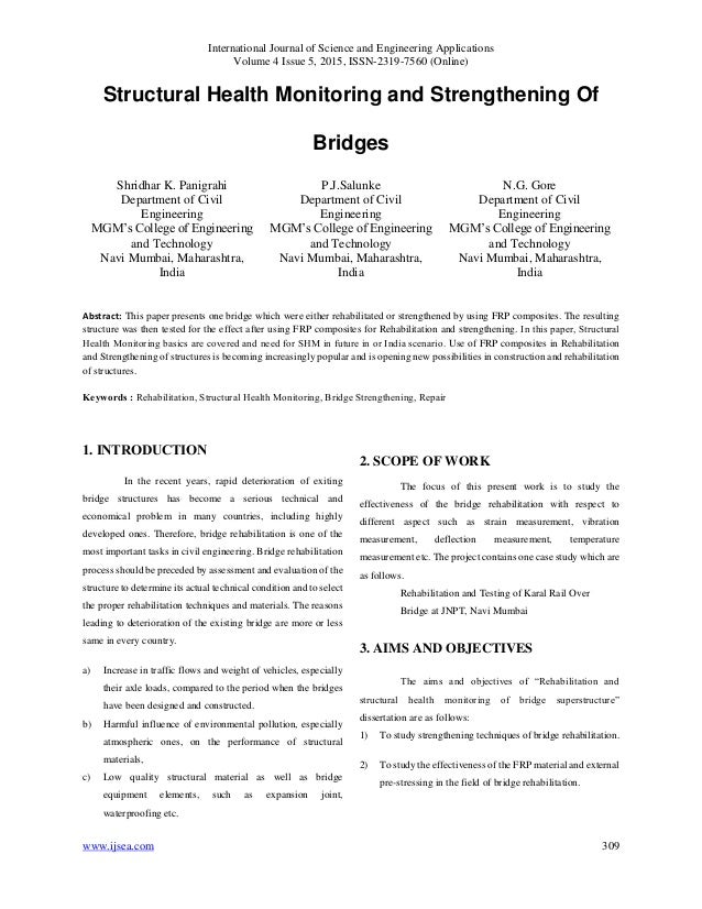 Structural Health Monitoring and Strengthening Of Bridges