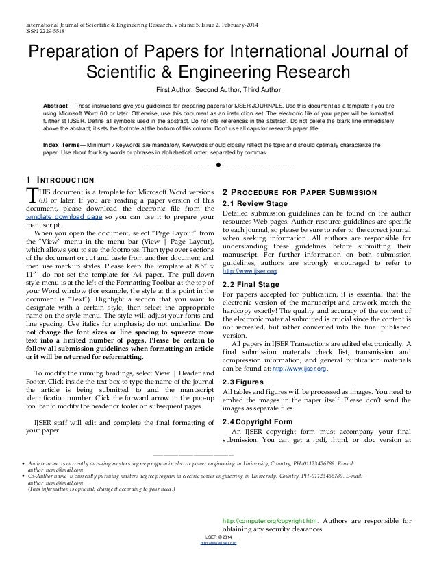 Ijser template international journal of scientific for Science article summary template