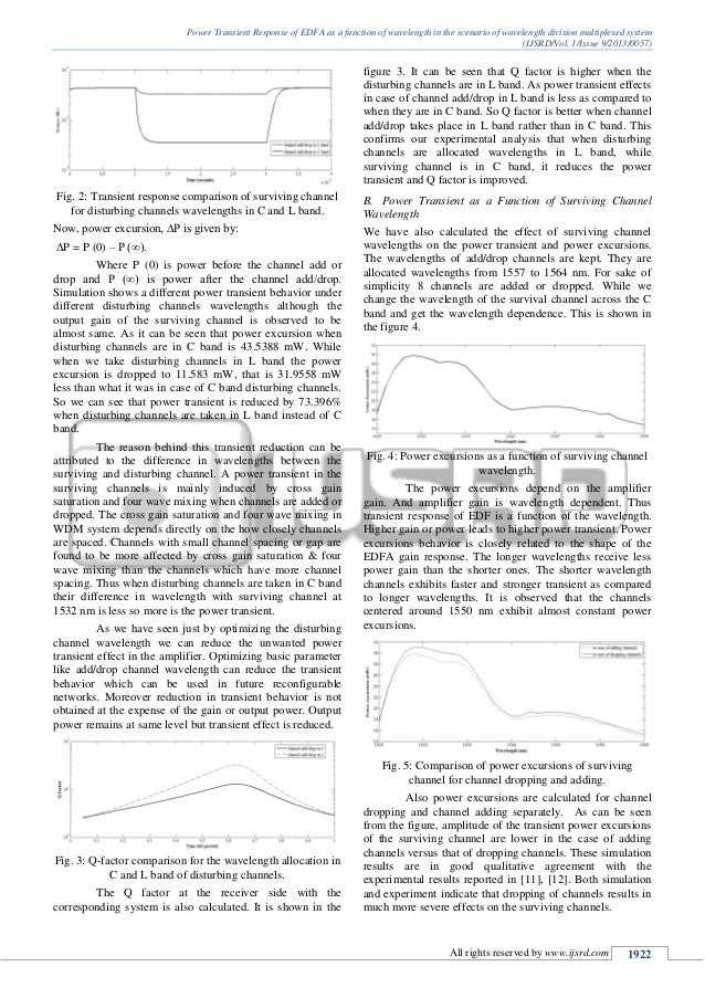 Power Transient Response of EDFA as a function of wavelength in the scenario of wavelength division multiplexed system (IJ...