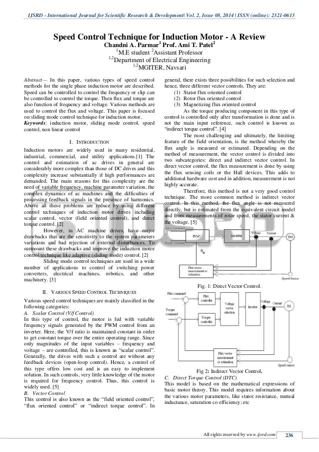Speed control techniques for induction motor a review for Speed control of induction motor