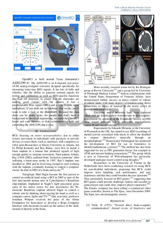 STUDY OF BRAIN MACHINE INTERFACE SYSTEM