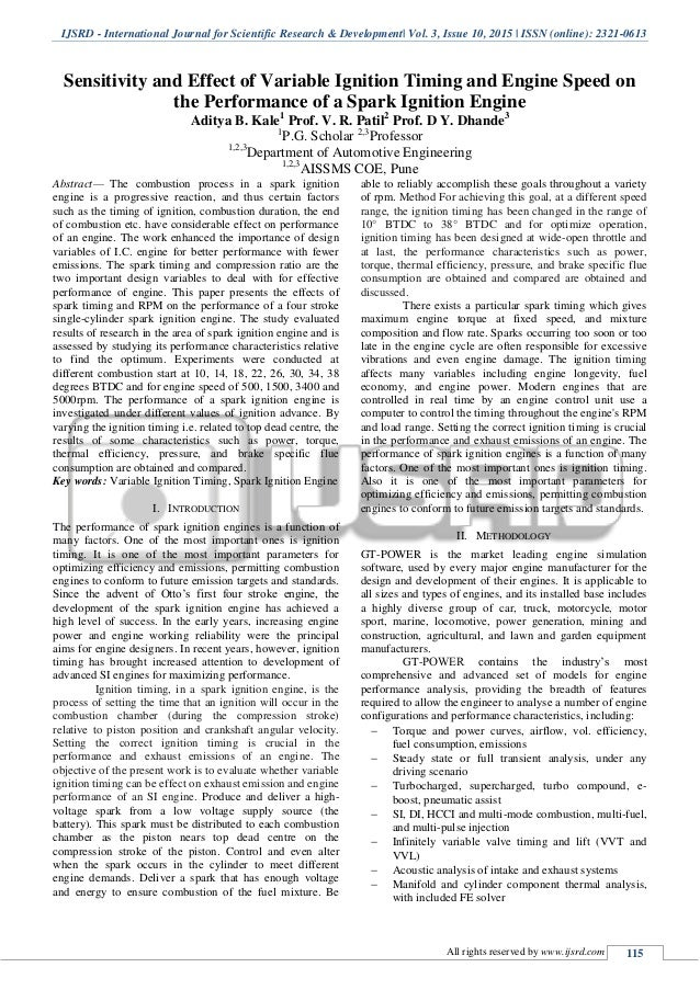 Sensitivity and Effect of Variable Ignition Timing and