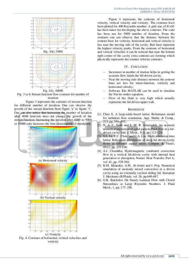 Lid driven cavity flow simulation using CFD & MATLAB