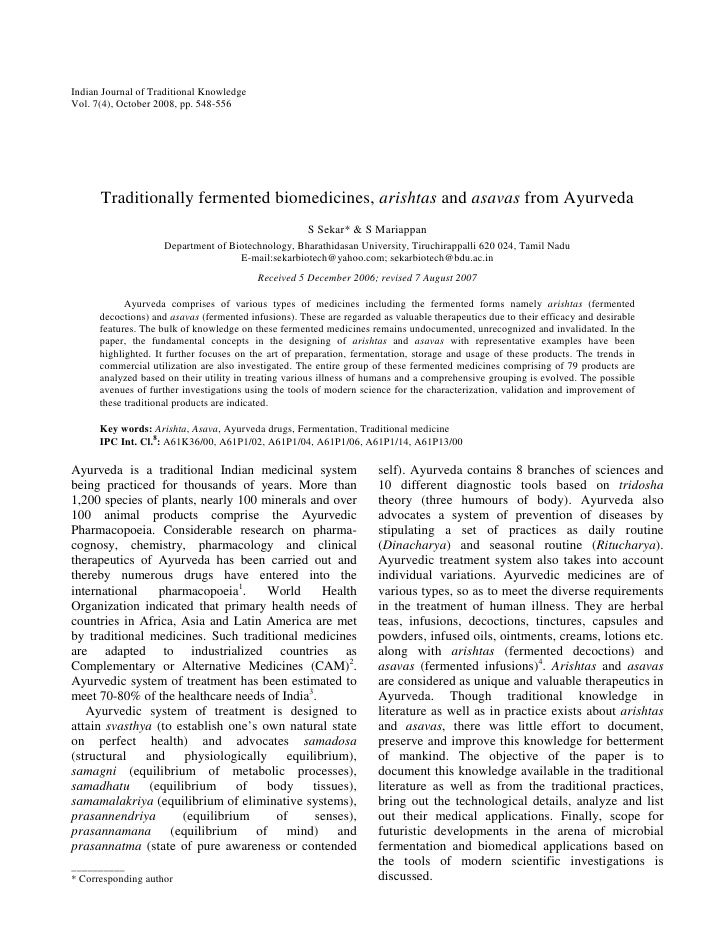 Indian Journal of Traditional Knowledge Vol. 7(4), October 2008, pp. 548-556           Traditionally fermented biomedicine...