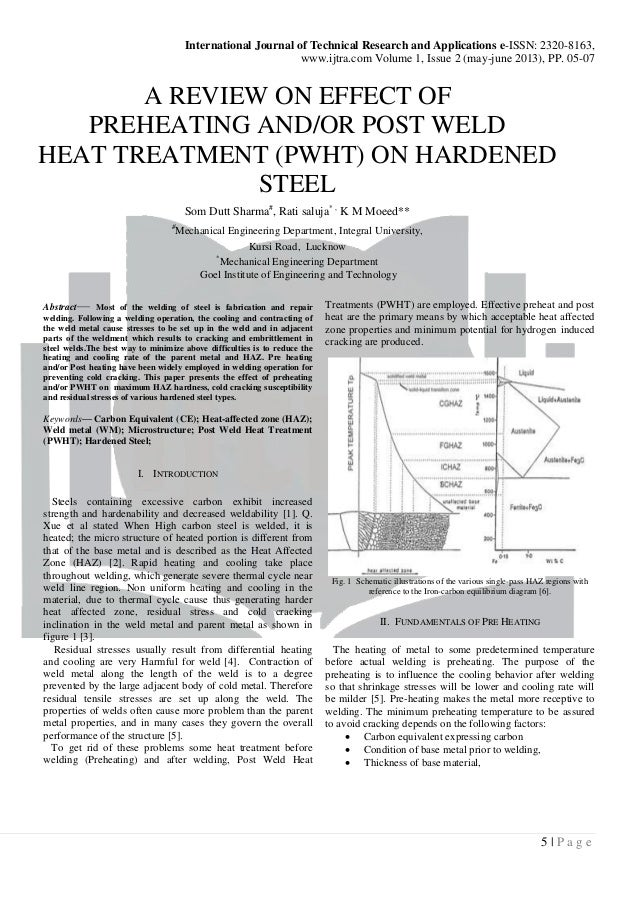 a review on effect of preheating and or post weld heat treatment (pwh melissa granville international journal of technical research and applications e issn 2320 8163,