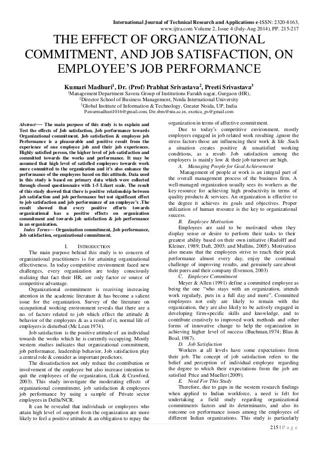 literature review on job satisfaction and performance Job factors job performance firm performance job satisfaction: a literature review management research and practice vol 3 issue 4 (2011) pp: 77-86.