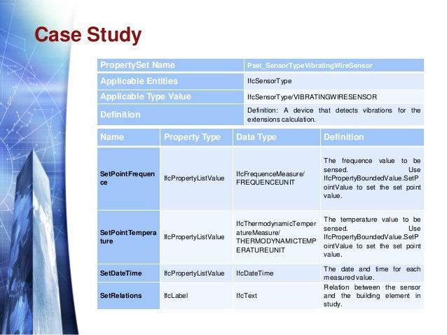 Case Study PropertySet Name Pset_SensorTypeVibratingWireSensor Applicable Entities IfcSensorType Applicable Type Value Ifc...