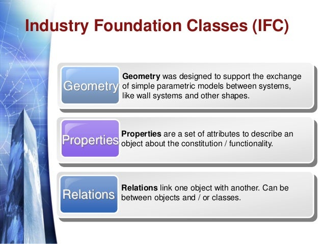 Industry Foundation Classes (IFC) Geometry Geometry was designed to support the exchange of simple parametric models betwe...