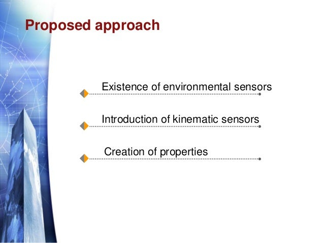 Proposed approach Existence of environmental sensors Introduction of kinematic sensors Creation of properties