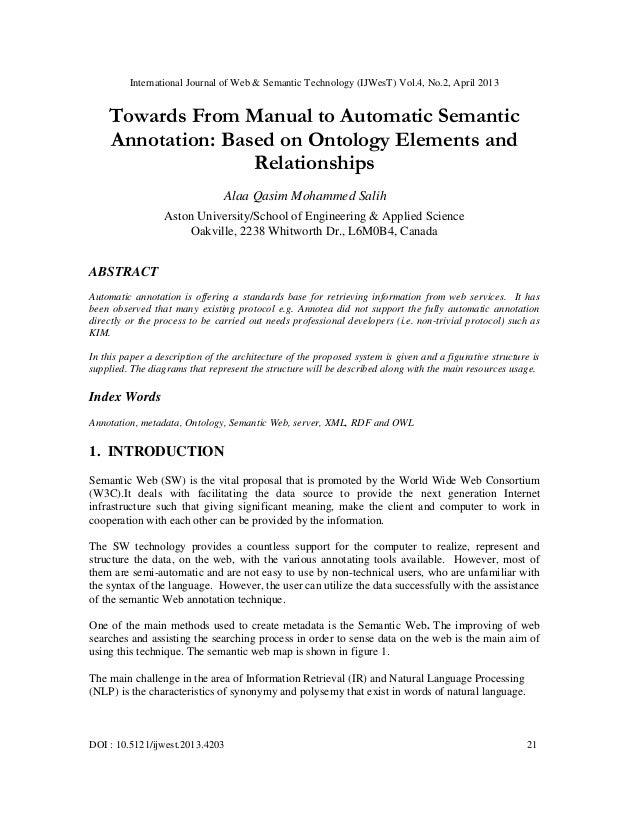 International Journal of Web & Semantic Technology (IJWesT) Vol.4, No.2, April 2013DOI : 10.5121/ijwest.2013.4203 21Toward...