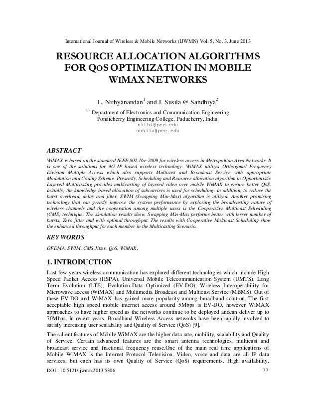 International Journal of Wireless & Mobile Networks (IJWMN) Vol. 5, No. 3, June 2013 DOI : 10.5121/ijwmn.2013.5306 77 RESO...