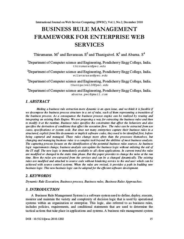 International Journal on Web Service Computing (IJWSC), Vol.1, No.2, December 2010 DOI : 10.5121/ijwsc.2010.1202 15 BUSINE...