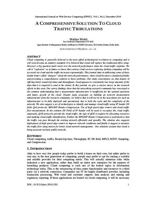 International Journal on Web Service Computing (IJWSC), Vol.1, No.2, December 2010 DOI : 10.5121/ijwsc.2010.1201 1 A COMPR...