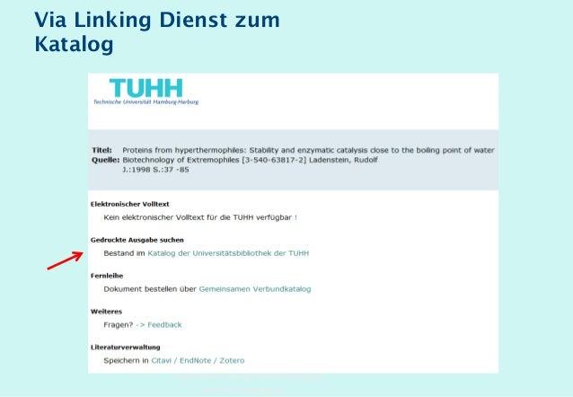 Technische Universität Hamburg-Harburg www.tub.tu-harburg.de Via Linking Dienst zum Katalog