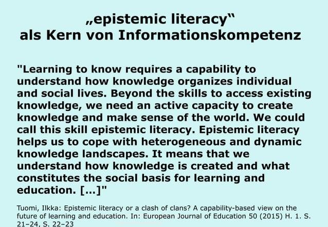 """Technische Universität Hamburg-Harburg www.tub.tu-harburg.de """"epistemic literacy"""" als Kern von Informationskompetenz """"Lear..."""