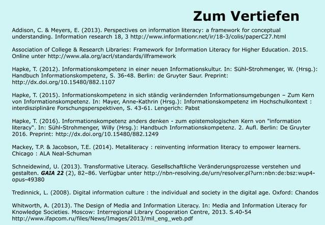 Technische Universität Hamburg-Harburg www.tub.tu-harburg.de Zum Vertiefen Addison, C. & Meyers, E. (2013). Perspectives o...