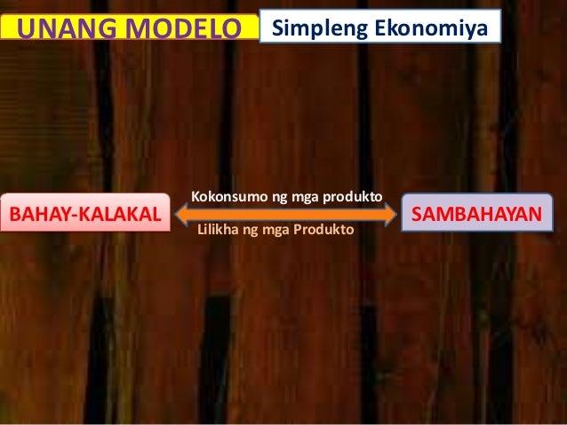 UNANG MODELO Simpleng Ekonomiya                Kokonsumo ng mga produktoBAHAY-KALAKAL                               SAMBAH...