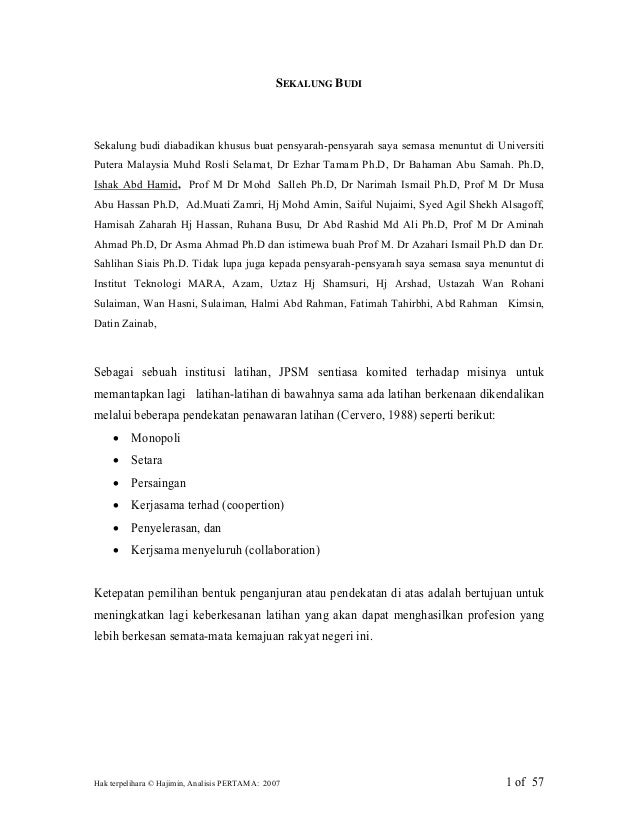 Hak terpelihara © Hajimin, Analisis PERTAMA: 2007 1 of 57 SEKALUNG BUDI Sekalung budi diabadikan khusus buat pensyarah-pen...