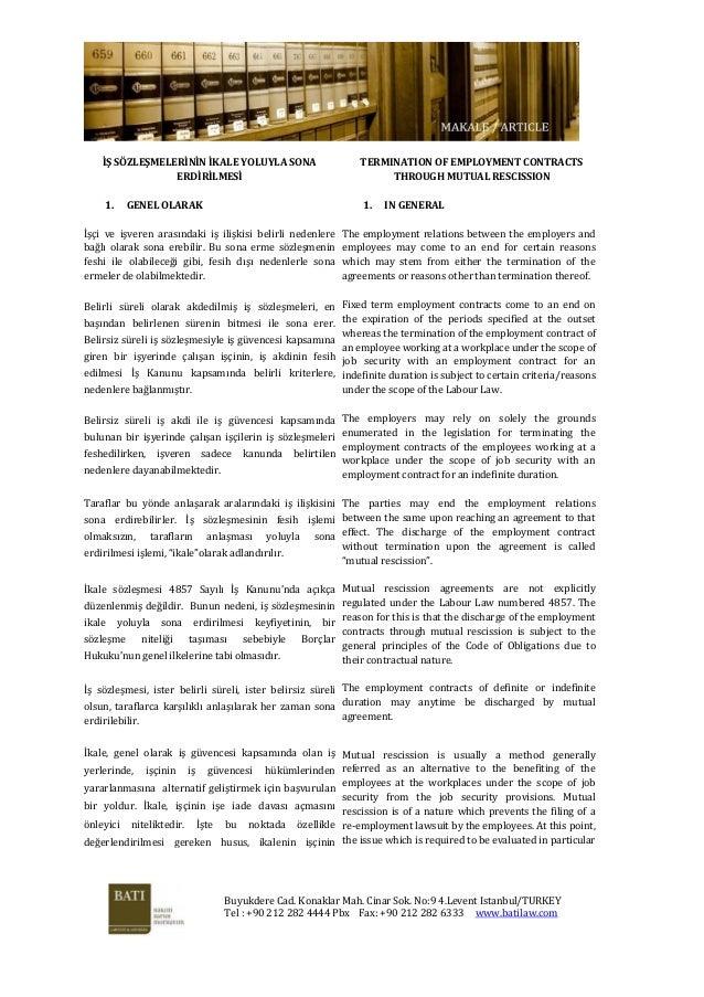Ikale mutual rescission pdf szlemelernn kale yoluyla sona erdrlmes termination of employment contracts through mutual rescission platinumwayz