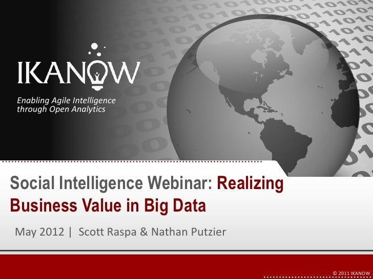 Enabling Agile Intelligence throughthrough Open AnalyticsOpen Analytics                                      1TitleSocial ...
