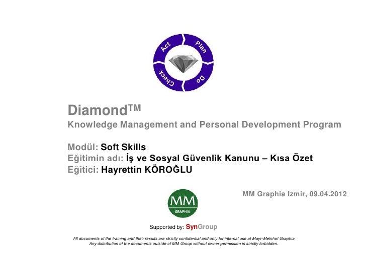 DiamondTMKnowledge Management and Personal Development ProgramModül: Soft SkillsEğitimin adı: ĠĢ ve Sosyal Güvenlik Kanunu...