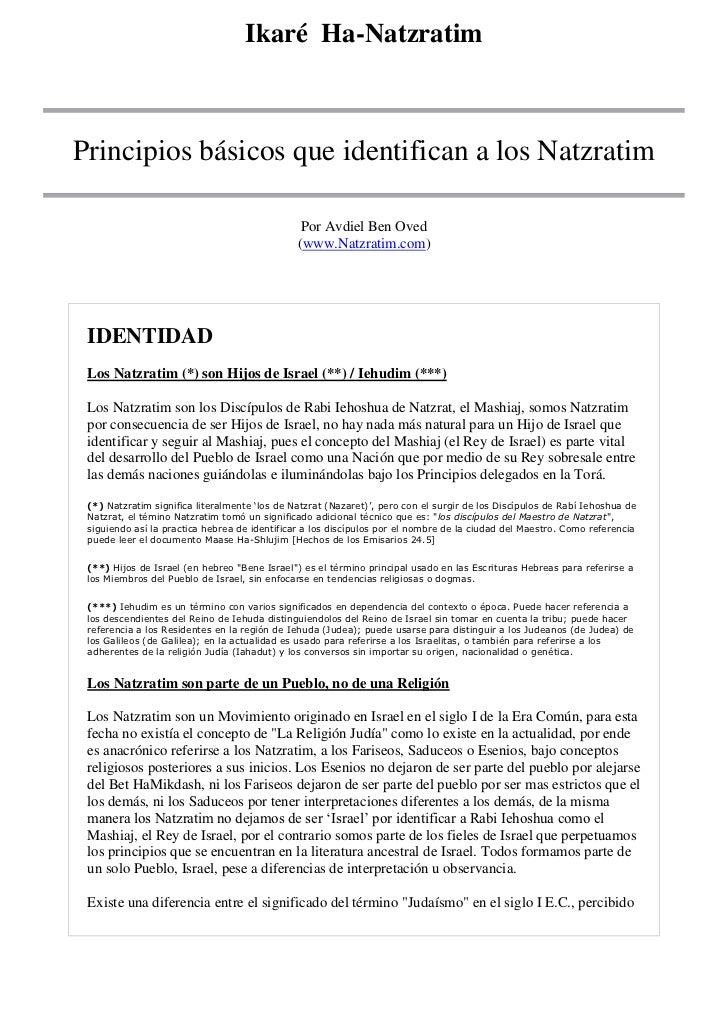 Ikaré Ha-Natzratim<br />Principios básicos que identifican a los Natzratim<br />Por Avdiel Ben Oved(www.Natzratim.com) <b...