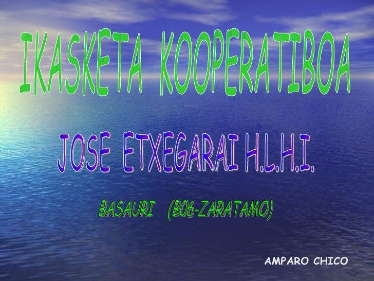 IKASKETA  KOOPERATIBOA JOSE  ETXEGARAI H.L.H.I. BASAURI  (B06-ZARATAMO) AMPARO CHICO