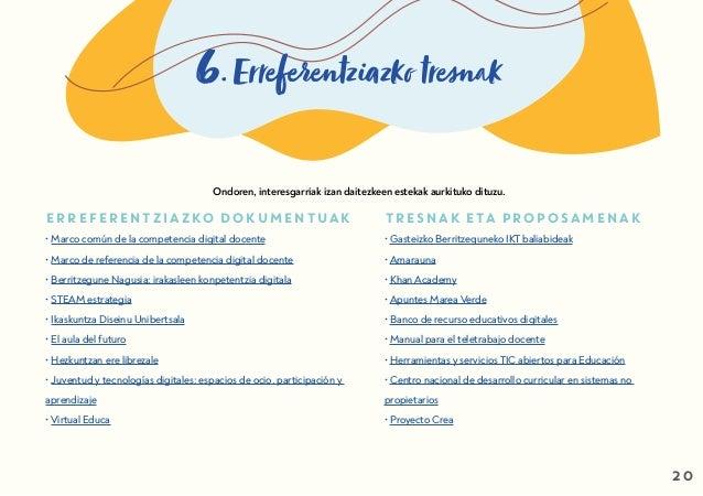 6. Erreferentziazko tresnak ERREFERENTZIAZKO DOKUMENTUAK • Marco común de la competencia digital docente • Marco de refere...