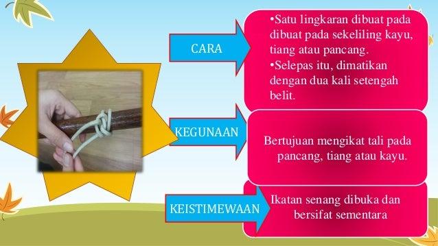 •Satu lingkaran dibuat pada dibuat pada sekeliling kayu, tiang atau pancang. •Selepas itu, dimatikan dengan dua kali seten...