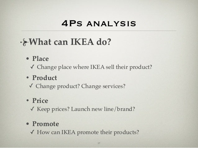 ikea 4ps The marketing mix of ikea discusses the 4p's of one of the largest furniture and home equipments manufacturer in the world ikea has a strong marketing mix it is a brand that has broadly differentiated and has not depended upon a solitary classification of items or administrations for its extension.