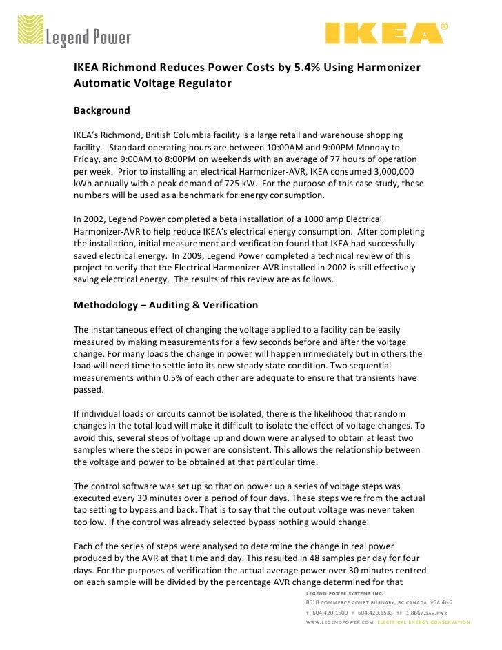 IKEA Richmond Reduces Power Costs by 5.4% Using Harmonizer Automatic Voltage Regulator  Background  IKEA's Richmond, Briti...