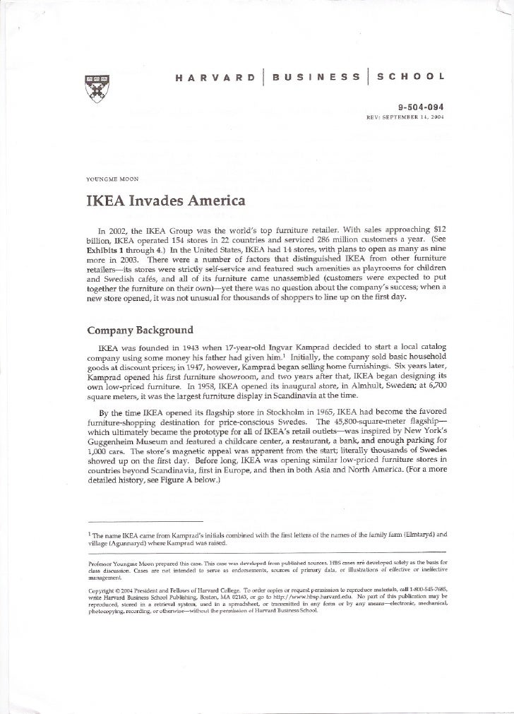 harvard business case study ikea invades america