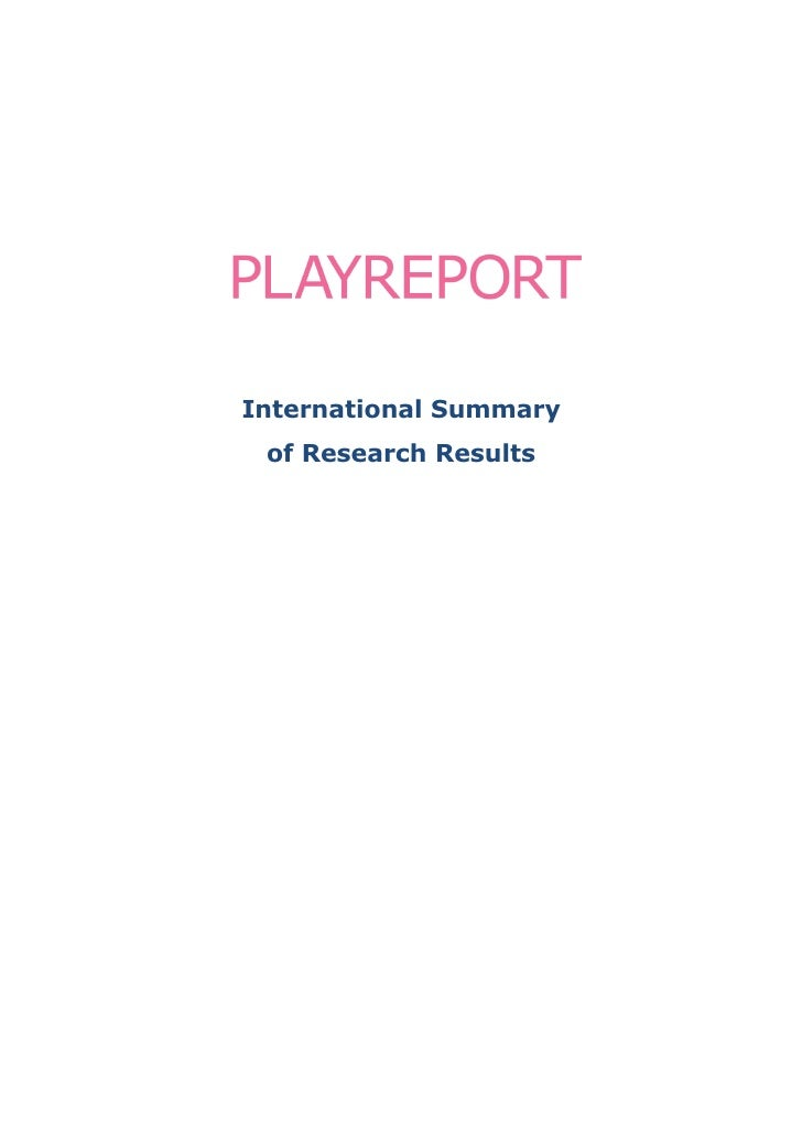 International Summary  of Research Results