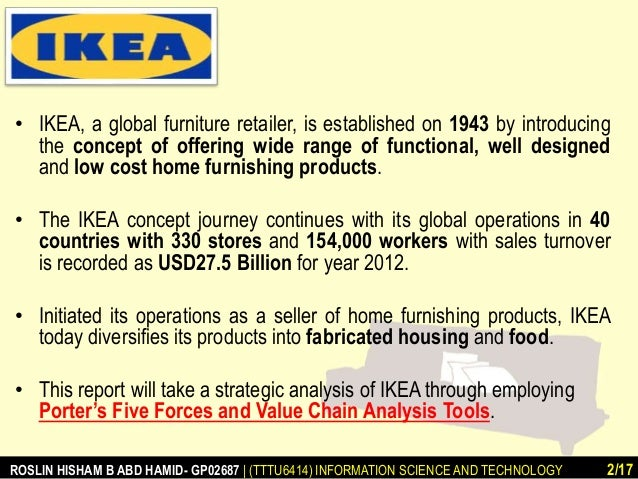 ikea porter 5 forces Porter's five forces is a framework developed by economist michael e porter to determine the profitability -- and attractiveness -- of a market or market segment this complimentary document comprehensively details the elements of a strategic it plan that are common across the board – from.