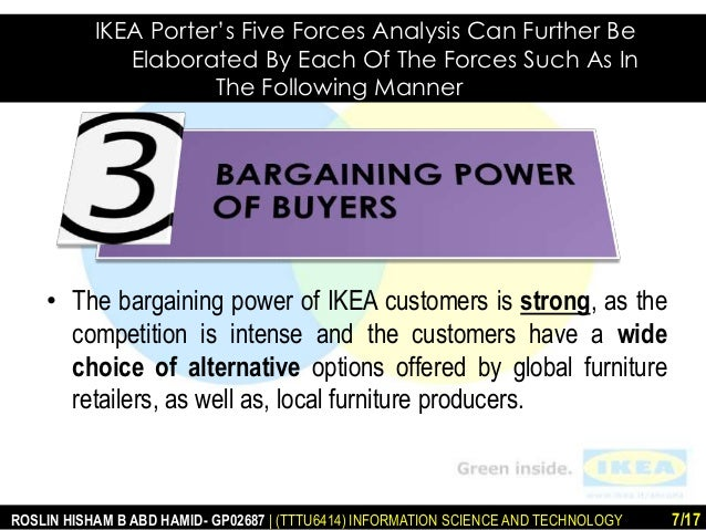 michael porter five forces analysis ikea Porter's five forces model is an analysis tool that uses five industry forces to determine the intensity of competition in an industry and its profitability level.
