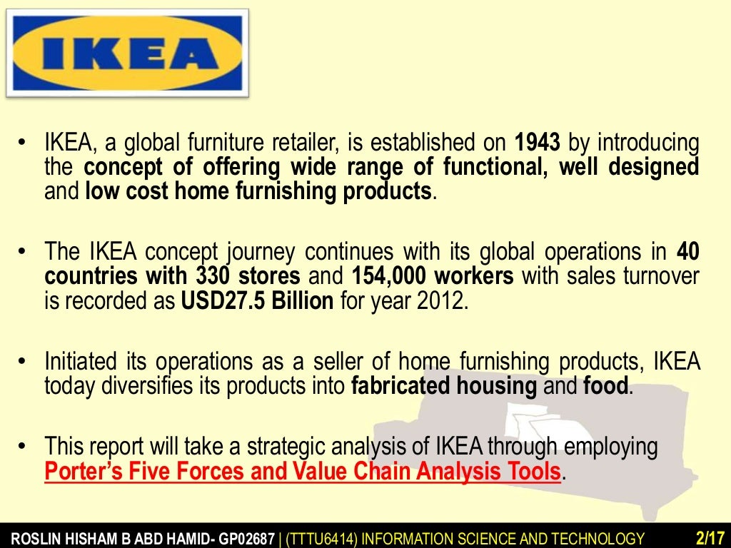ikea business analysis As the topics of this thesis are competitive advantage of ikea and ikea in china after collect and analysis the information i got, these research questions will be solved.