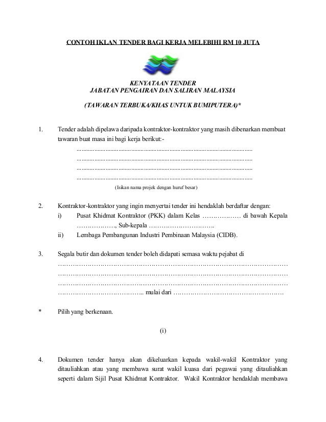 CONTOH IKLAN TENDER BAGI KERJA MELEBIHI RM 10 JUTA KENYATAAN TENDER JABATAN PENGAIRAN DAN SALIRAN MALAYSIA (TAWARAN TERBUK...
