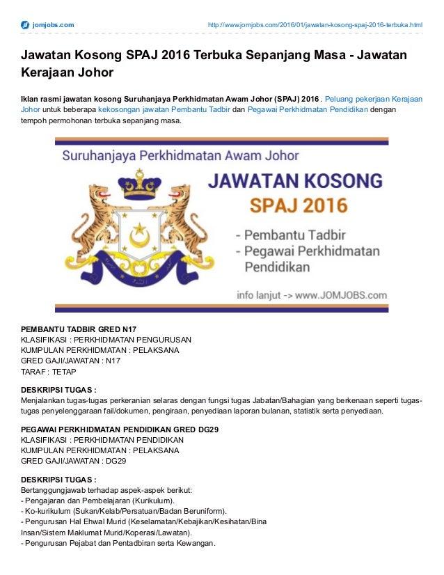 Iklan Jawatan Kosong Spaj 2016 Kerajaan Negeri Johor