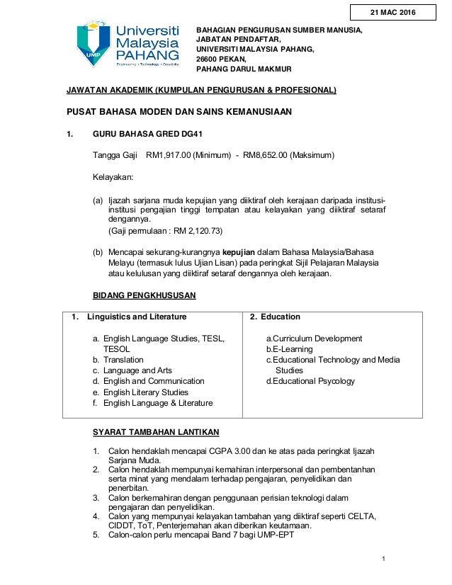 1 BAHAGIAN PENGURUSAN SUMBER MANUSIA, JABATAN PENDAFTAR, UNIVERSITI MALAYSIA PAHANG, 26600 PEKAN, PAHANG DARUL MAKMUR JAWA...