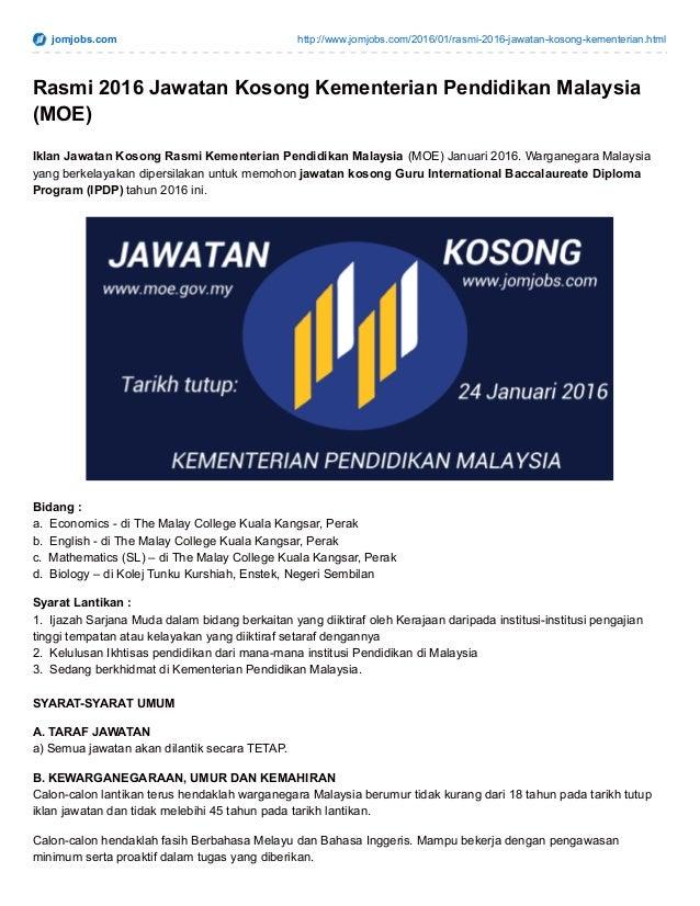 2016 Iklan Jawatan Kosong Moe Kementerian Pendidikan Malaysia