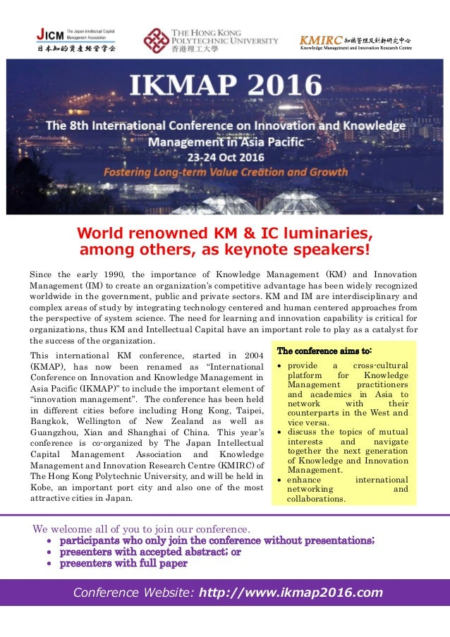 Invitation to 8th international conference on innovation and knowledg world renowned km ic luminaries among others as keynote speakers the conference stopboris Gallery