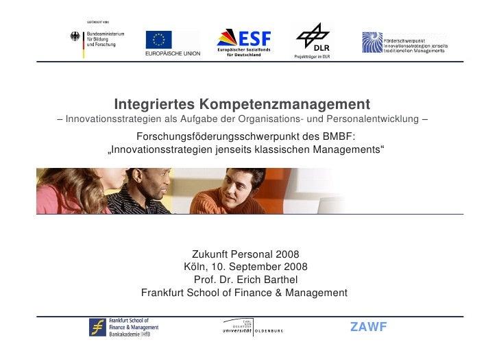 Integriertes Kompetenzmanagement Innovationsstrategien als Aufgabe der Organisations- und Personalentwicklung             ...