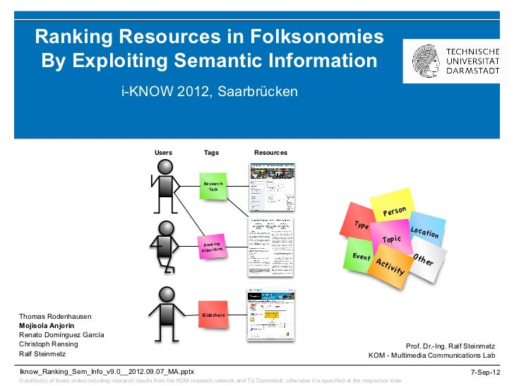 Ranking Resources in Folksonomies      By Exploiting Semantic Information                                        i-KNOW 20...