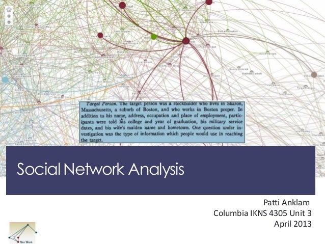 Social Network Analysis Patti Anklam Columbia IKNS 4305 Unit 3 April 2013