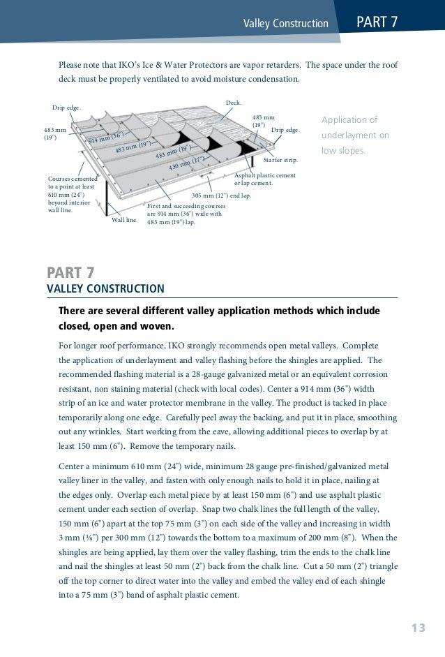 """Valley underlayment Underlayment Chalk lines diverge 3 mm per 300 mm (⅛"""" par 12"""") Asphalt plastic cement End shingles trim..."""