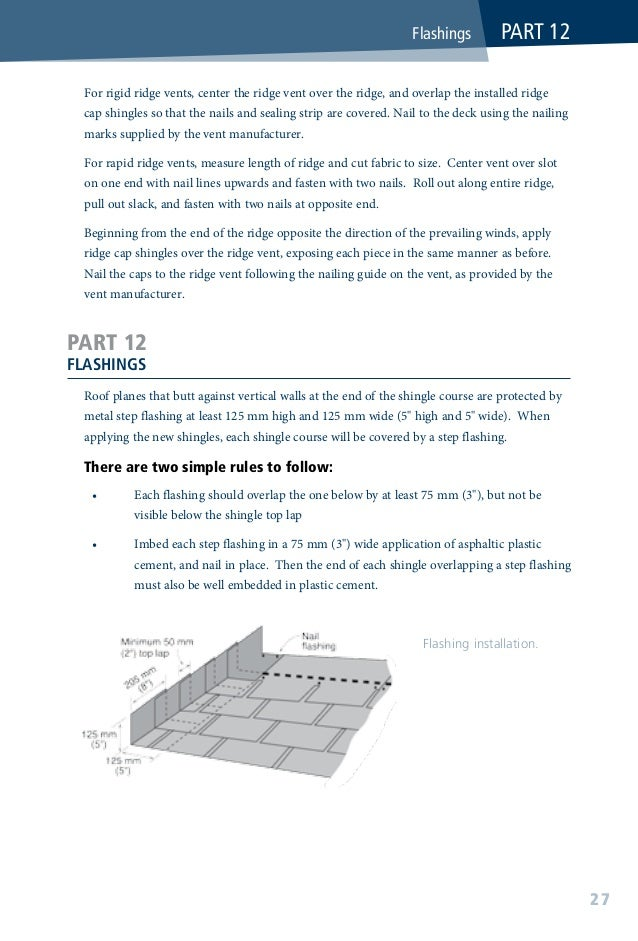 """The metal step flashing shingles are rectangular in shape and style, approximately 250mm (10"""") long and at least 50mm (2..."""