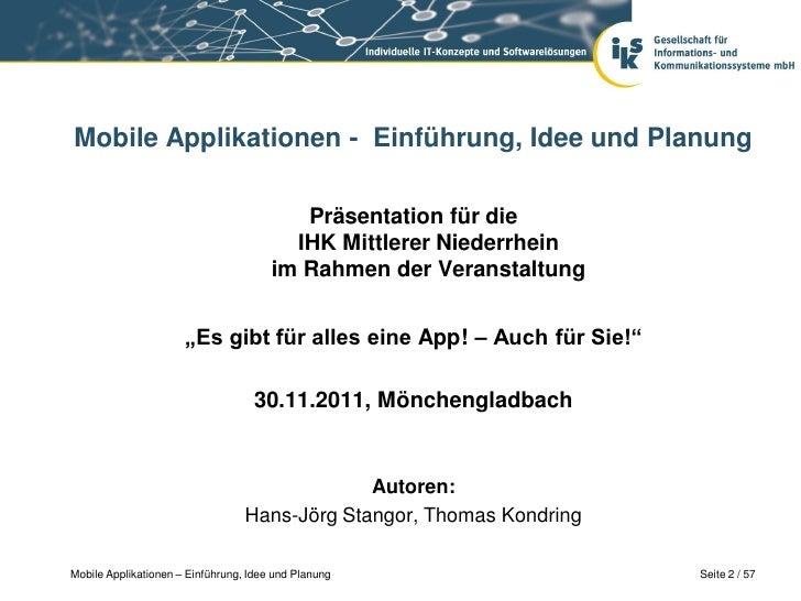 Mobile Applikationen - Einführung, Idee und Planung                                          Präsentation für die         ...