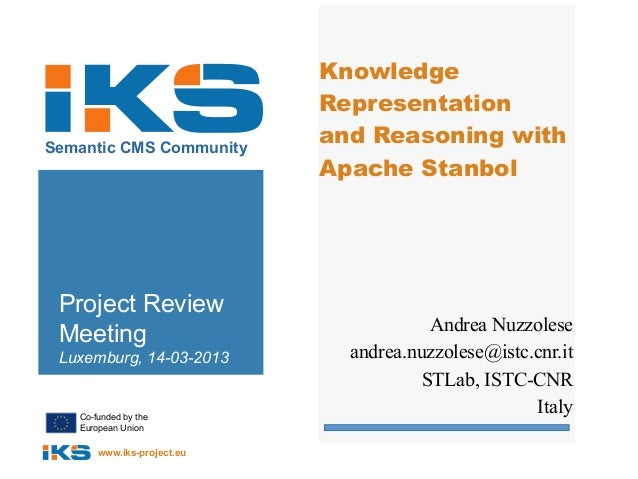 Knowledge                            RepresentationSemantic CMS Community                            and Reasoning with   ...