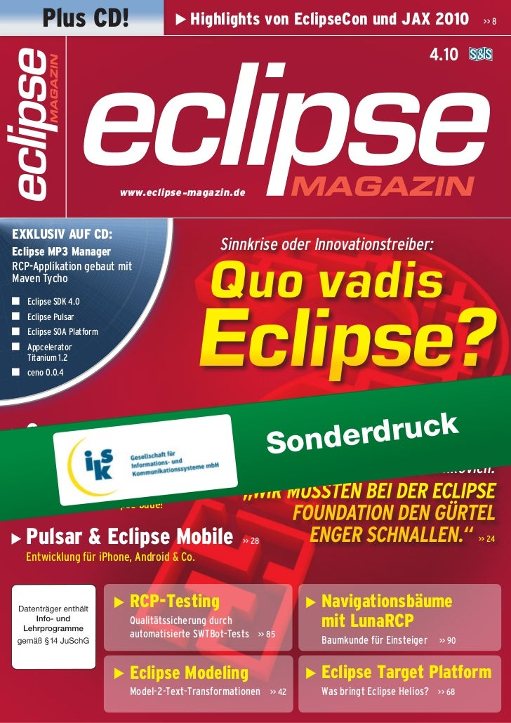 Plus CD!                         Highlights von EclipseCon und Jax 2010                       >> 8                        ...
