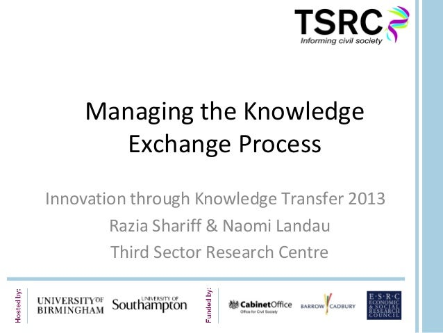 Managing the KnowledgeExchange ProcessInnovation through Knowledge Transfer 2013Razia Shariff & Naomi LandauThird Sector R...